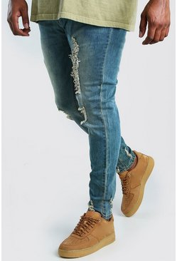 Big And Tall Skinny Jean With Heavy Distressing, Mid blue