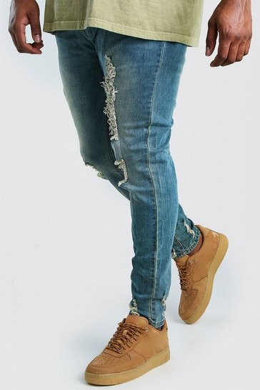 Mid blue Big And Tall Skinny Jean With Heavy Distressing