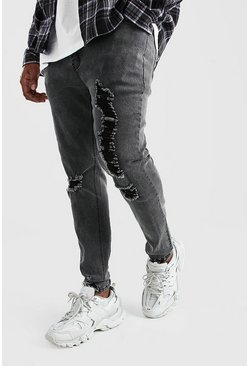 Big And Tall Skinny Jean With Heavy Distressing, Charcoal