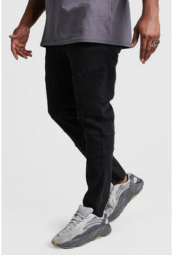 Black Big & Tall - Biker jeans i skinny fit