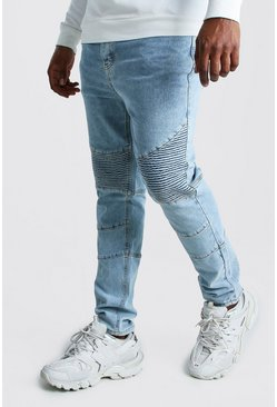 Pale blue Big And Tall Skinny Fit Biker Jean