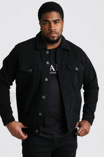 Black Big And Tall Borg Lined Denim Jacket
