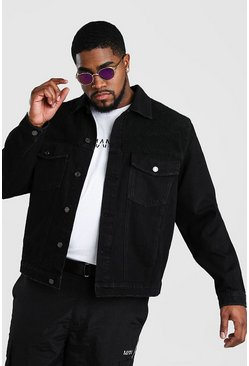 Big And Tall Denim Jacket With Borg Panel, Black