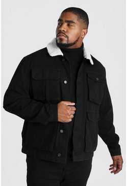 Black Big & Tall - Jeansjacka i utilitymodell med teddykrage