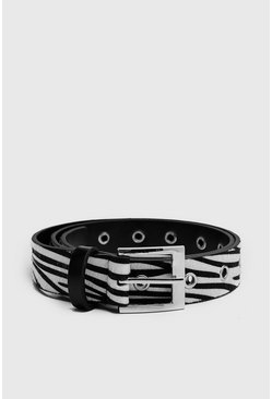 Mens Animal Zebra Belt