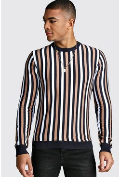 Vertical Stripe Crew Neck Jumper, Navy, HERREN