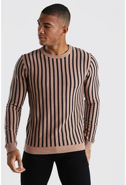 Vertical Stripe Crew Neck Jumper, Camel
