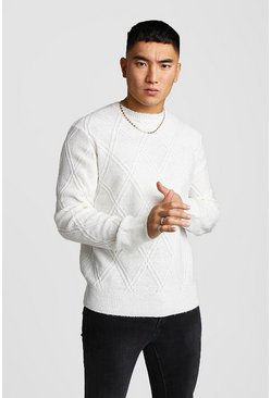 Herr Cream Off White Cable Knit Jumper