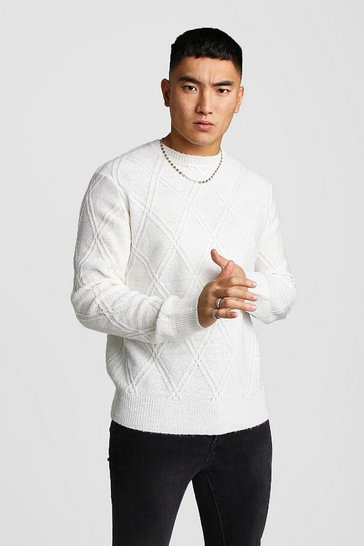 Mens Cream Off White Cable Knit Jumper