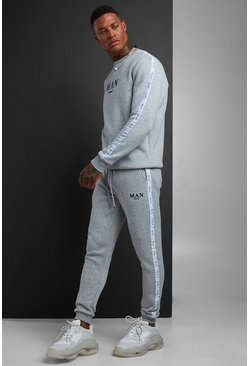 Mens Grey MAN Sweater Tracksuit With Tape Detail