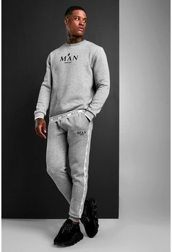 MAN Sweater Tracksuit With Tape Detail, Grey