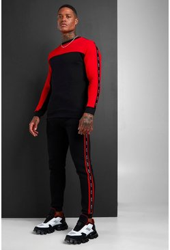 Mens Black MAN Colour Block Sweater Tracksuit With Tape