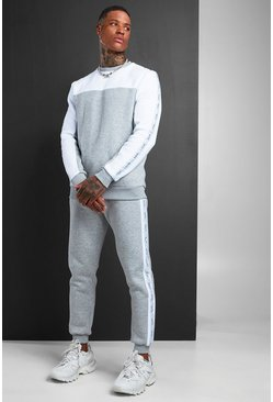 Mens Grey MAN Colour Block Sweater Tracksuit With Tape