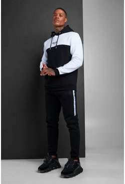 Mens Black MAN Colour Block Hooded Tracksuit With Tape