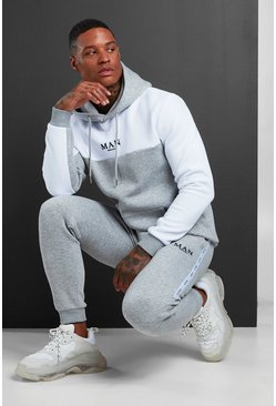 MAN Colour Block Hooded Tracksuit With Tape, Grey