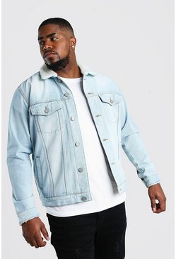 Big And Tall Borg Lined Denim Jacket, Washed blue
