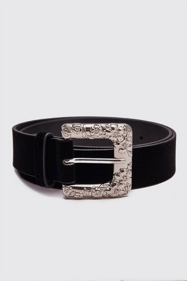 Black Oversized Buckle Faux Suede Belt