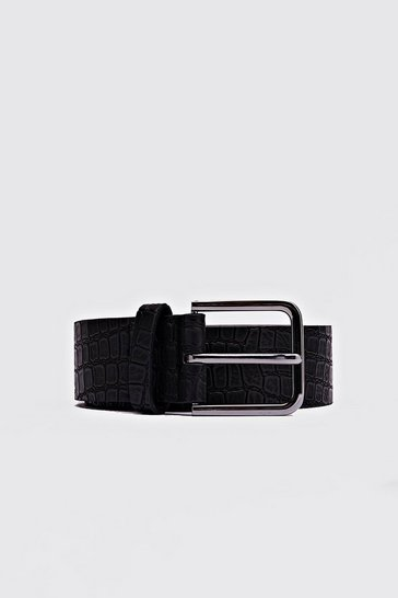 Faux Croc Black Buckle Belt