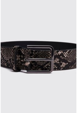 Mens Grey Faux Snake Square Buckle Belt
