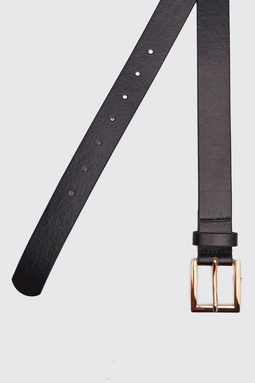Black Leather Look Square Buckle Belt
