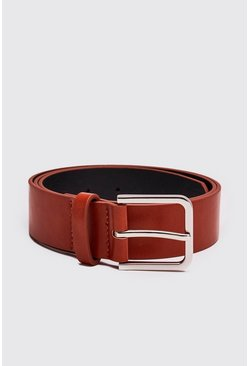 Tan Faux Leather Square Buckle Belt