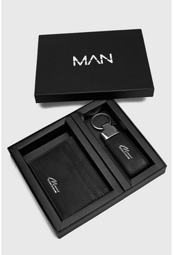 Black Real Leather Cardholder And Key Ring Gift Set