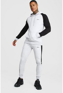 MAN Signature Muscle Fit Contrast Sleeve Tracksuit, Grey