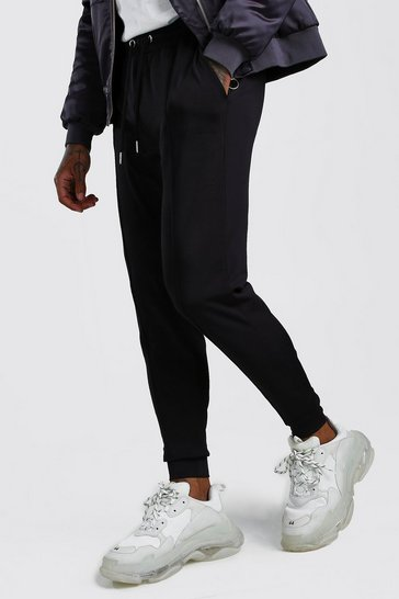 Black MAN Signature Pintuck Poly Joggers