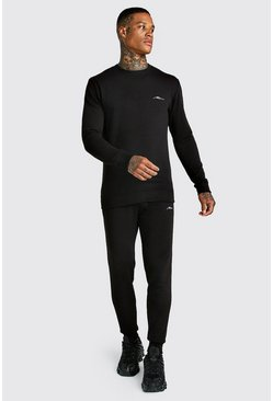 MAN Signature Muscle Fit Sweater Tracksuit, Black