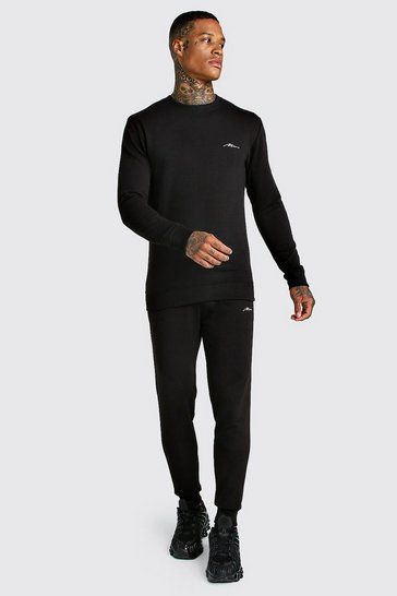 Black MAN Signature Muscle Fit Sweater Tracksuit