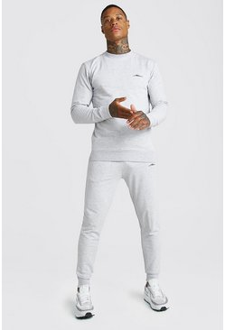 MAN Signature Muscle Fit Sweater Tracksuit, Grey