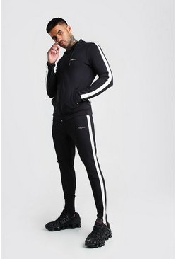 MAN Muscle Fit Poly Tracksuit With Panels, Black