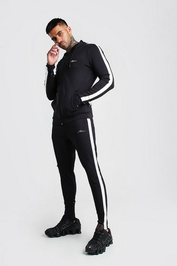 Black MAN Muscle Fit Poly Tracksuit With Panels