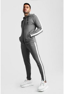 Charcoal MAN Muscle Fit Poly Tracksuit With Panels