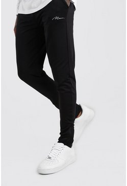 MAN Signature Poly Skinny Fit Jogger With Zips, Black