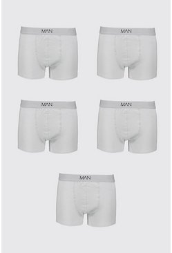 Grey Big And Tall 5 Pack MAN Boxers