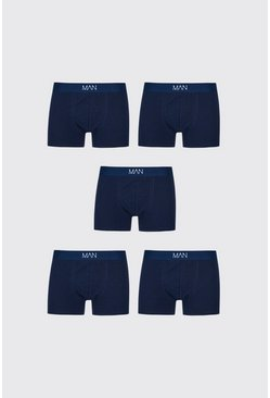 Navy Big And Tall 5 Pack MAN Boxers