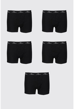 Big And Tall 5 Pack MAN Script Boxers, Black