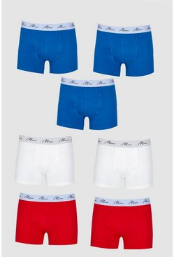 Big And Tall 7 Pack MAN Script Mixed Boxers, Multi