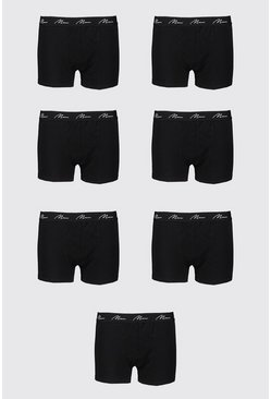 Big And Tall 7 Pack MAN Script Boxers, Black