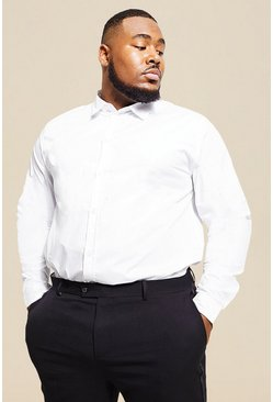 Mens White Big And Tall Long Sleeve Cotton Poplin Shirt