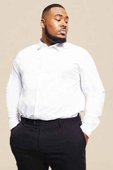 White Big And Tall Long Sleeve Cotton Poplin Shirt