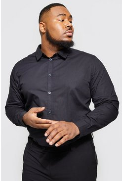 Black Big And Tall Long Sleeve Cotton Poplin Shirt