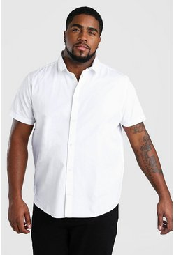 Mens White Big And Tall Short Sleeve Cotton Poplin Shirt