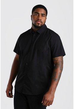 Black Big And Tall Short Sleeve Cotton Poplin Shirt