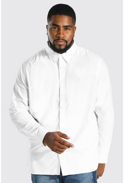 Big And Tall Long Sleeve Oxford Shirt, White