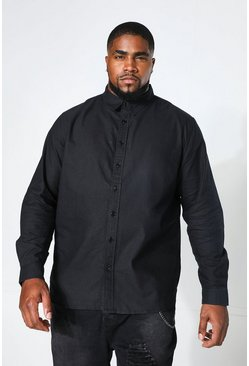 Herr Black Big And Tall Long Sleeve Oxford Shirt