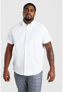Mens White Big And Tall Short Sleeve Oxford Shirt