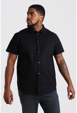 Mens Black Big And Tall Short Sleeve Oxford Shirt