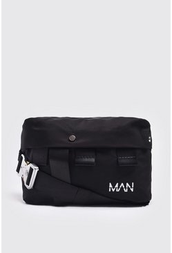 Mens Black Metal Utility Buckle Bumbag